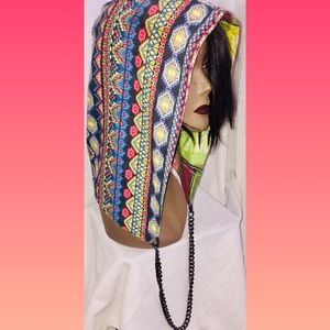 Unisex Hoodie with chain party rave festival hat